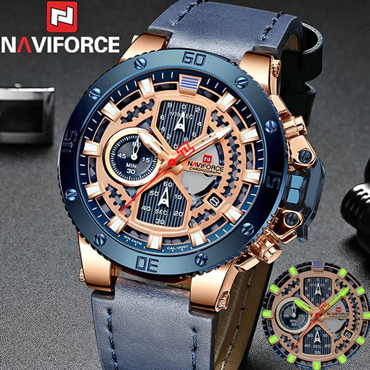 Special. 2019-NAVIFORCE-Men-Watch-Male-Leather-Chronograph-Quartz-Watches- Mens-... NF9159
